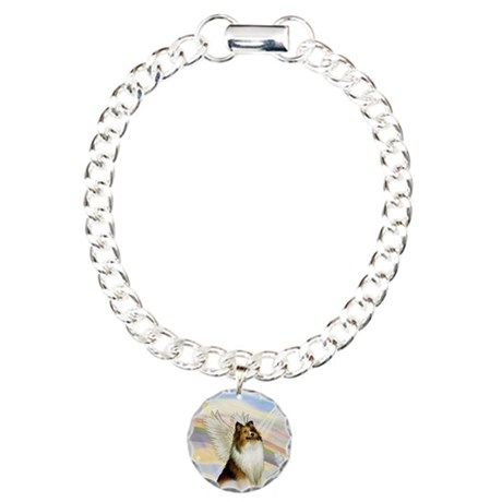 Sable Sheltie Angel Charm Bracelet, One Charm