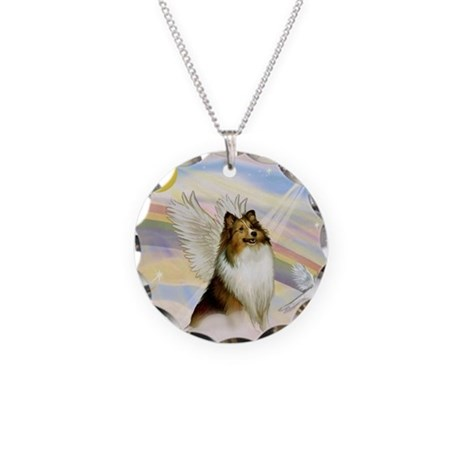 Sable Sheltie Angel Necklace Circle Charm