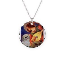 Mandolin Angel /Shih Tzu Necklace Circle Charm