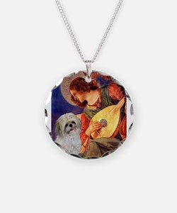 Mandolin Angel /Shih Tzu Necklace Circle Charm