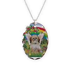 Rainbow & Shih Tzu Necklace Oval Charm
