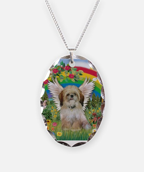 Rainbow & Shih Tzu Necklace Oval Charm