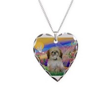 Cloud Angel / Shih Tzu Necklace Heart Charm