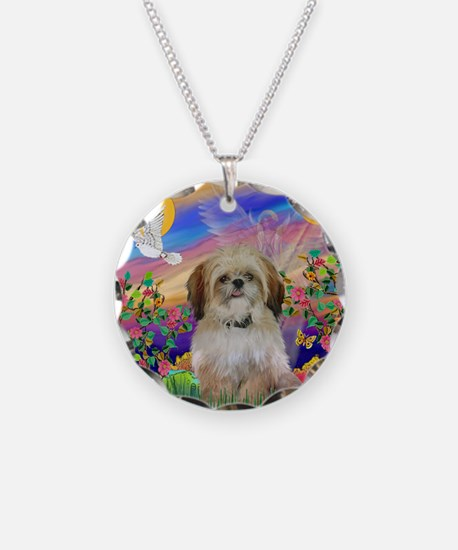 Cloud Angel / Shih Tzu Necklace Circle Charm