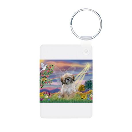 Cloud Angel & Shih Tzu Aluminum Photo Keychain