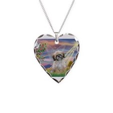 Cloud Angel & Shih Tzu Necklace Heart Charm