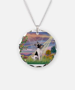 Cloud Angel /Toy Fox Terrier Necklace Circle Charm