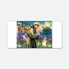 St Francis / Welsh Corgi (p) Aluminum License Plat