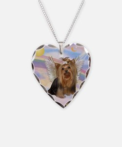 Yorkie Angel in Clouds Necklace
