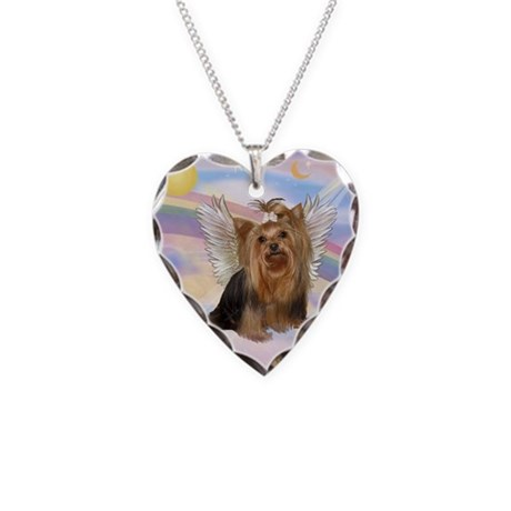 Yorkie Angel in Clouds Necklace Heart Charm
