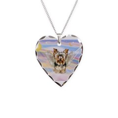 Yorkie (#17) in Clouds Necklace Heart Charm