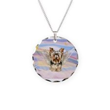 Yorkie (#17) in Clouds Necklace Circle Charm