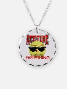 Attitude-Softball Necklace Circle Charm