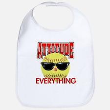 Attitude-Softball Cotton Baby Bib