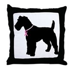 Fox Terrier Breast Cancer Support Throw Pillow