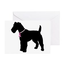 Fox Terrier Breast Cancer Support Greeting Cards (