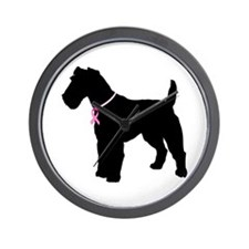 Fox Terrier Breast Cancer Support Wall Clock