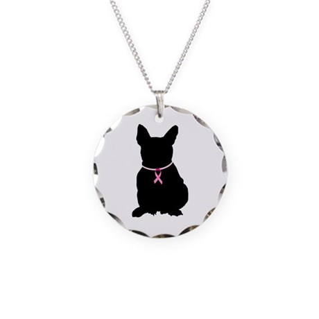 French Bulldog Breast Cancer Support Necklace Circ