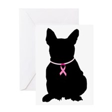 French Bulldog Breast Cancer Support Greeting Card