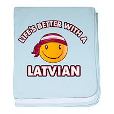 Cute Latvian design baby blanket