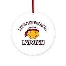 Cute Latvian design Ornament (Round)