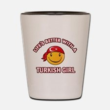 Cute turkish girl designs Shot Glass
