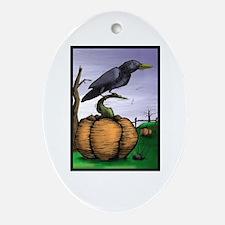 Halloween Crow Oval Ornament