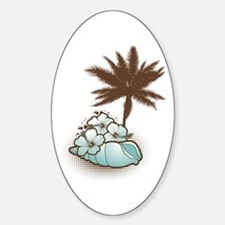 Hibiscus,seashell and palmtree in blue Decal