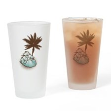 Hibiscus,seashell and palmtree in blue Drinking Gl