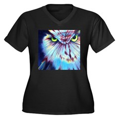 Night Owl Women's Plus Size V-Neck Dark T-Sh