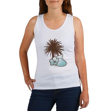Seashells and palmtree in blue 2 Women's Tank Top