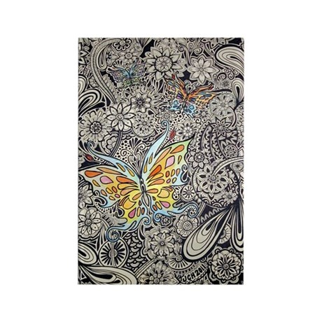 Butterfly Ink Rectangle Magnet