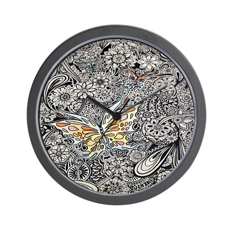 Butterfly Ink Wall Clock