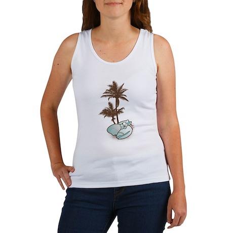 seashells with 2 palm trees blue Women's Tank Top
