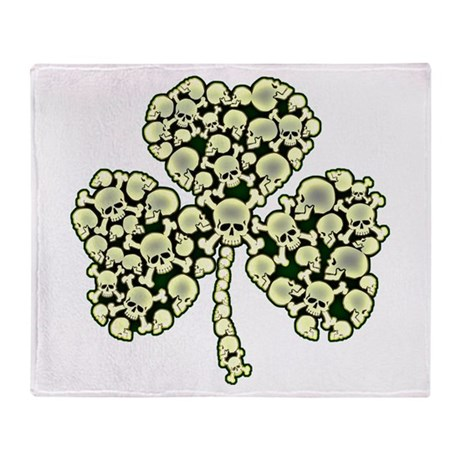 Irish Shamrock Made Of Skulls Throw Blanket
