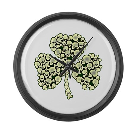 Irish Shamrock Made Of Skulls Large Wall Clock