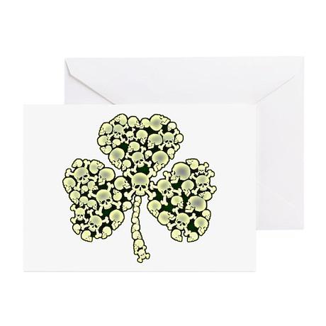 Irish Shamrock Made Of Skulls Greeting Cards (Pk o
