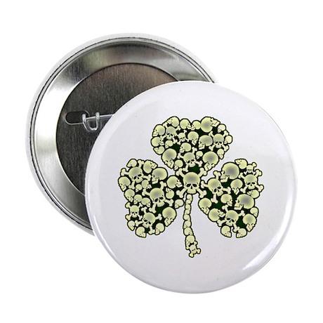 """Irish Shamrock Made Of Skulls 2.25"""" Button"""