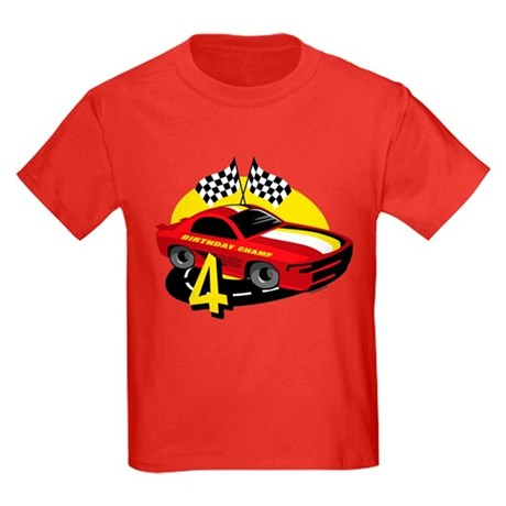 Race Car 4th Birthday Kids Dark T-Shirt