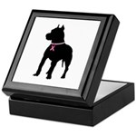 Pitbull Terrier Breast Cancer Support Keepsake Box