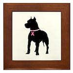 Pitbull Terrier Breast Cancer Support Framed Tile