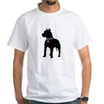 Pitbull Terrier Breast Cancer Support White T-Shir
