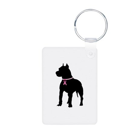 Pitbull Terrier Breast Cancer Support Aluminum Pho