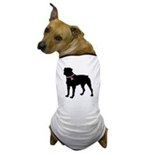 Rottweiler Breast Cancer Support Dog T-Shirt