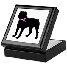 Rottweiler Breast Cancer Supp Keepsake Box