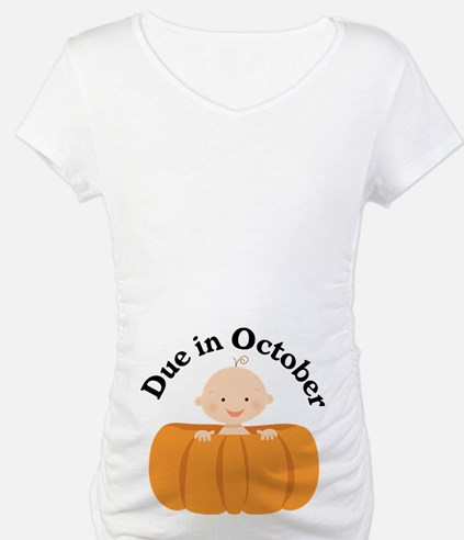 Pumpkin Baby Due In October Shirt