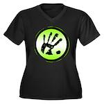CON-TACT Hand Logo Women's Plus Size V-Neck Dark T