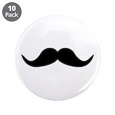 """Beard Mustache 3.5"""" Button (10 pack)"""