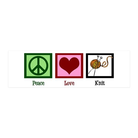 Peace Love Knit 20x6 Wall Decal