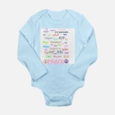 Peace In 35 Languages Gifts Long Sleeve Infant Bod